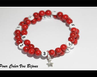Kit nursing with red turquoise beads bracelet