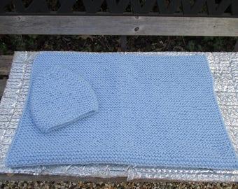 Blue garter stitch baby blanket