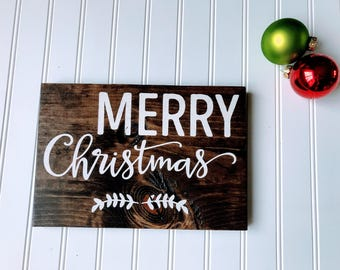 Merry Christmas Wood Sign, Wood Holiday Sign, Wood Christmas Sign, Rustic Christmas Sign