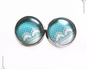 Polka dot lace blue Cabochon studs earrings