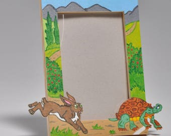The tortoise and the Hare from the Fables of La Fontaine wooden picture frame