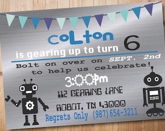 Metal Robot Birthday Invitation-Boy Birthday Party