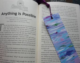 abstract painting print bookmark, abstract art, bookmarks, bookmarks for books, book marker with tassel, book accessories