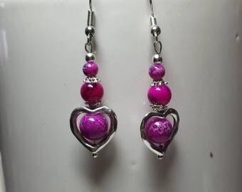 Fuchsia heart earrings