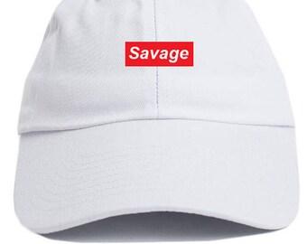 Savage Supreme Box Logo Dad Hat Adjustable Baseball Cap New - White