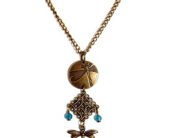 Round necklace and diamond Dragonfly Blue Crystal