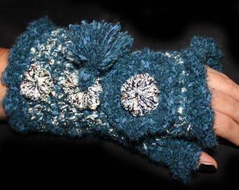 Crocheted mittens teal tassels