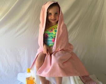 Pink Animals Hooded Bath Towel