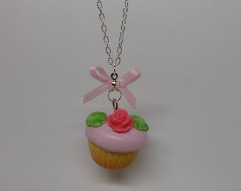 Pink polymer clay cupcake necklace