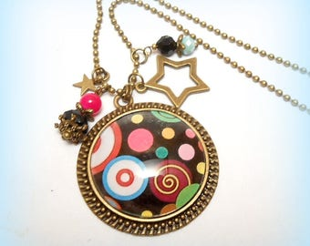 """Colorful spirals"" glass Cabochon necklace"