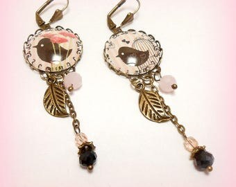 "Earrings cabochon ""cheep-cheep lace"""
