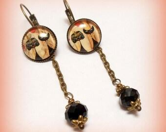 """Earrings cabochon """"Fashionable Egyptian sacred cats!"""""""