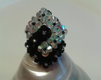 Handmade ring 2 entwined squares Black and White Swarovski Crystal pearls