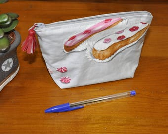 Cosmetic pouch - makeup - coated cotton gourmet pastries