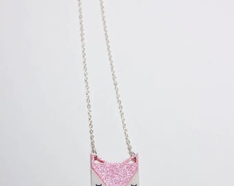 Necklace - Fox-acrylic glitter pink
