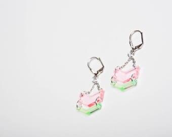 """""""KALI"""" pastel pink/green earrings"""