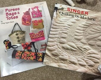 Singer Quilting by Machine Book and Purses Bags and Totes Pattern Book