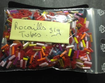 Multicolored seed beads 31G tube beads