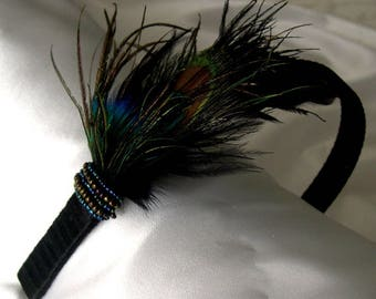 Headband black decorated with feathers from Peacock & beads