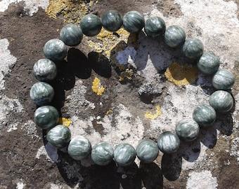 AA round round 9mm seraphinite beads (Clinochlore)