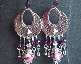 Purple/pink romantic earrings