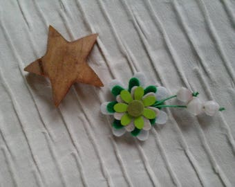 White and green flowers brooch