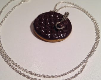 """""Necklace polymer clay chocolate biscuit and spoon """