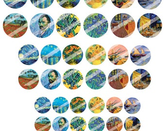 Board of Vincent Van Gogh digital images to create round cabochons (18 30, 25, 20 mm)