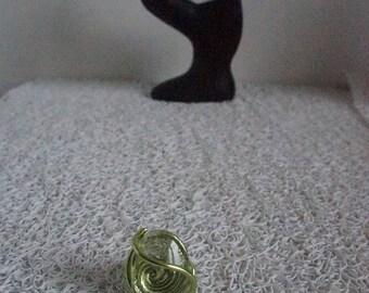 ring green cabochon