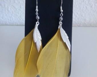 Yellow feather earrings
