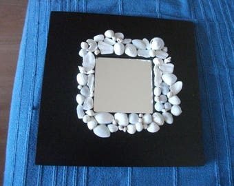 Mirror (10 cm x 10 cm) black frame with pieces of white shells and whole white shells
