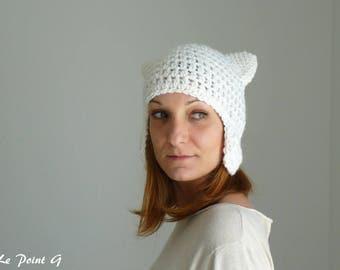 Bonnet péruvien Chat blanc pour adulte / Tuque crochet homme  femme  idee cadeau alpaga chapeau original unique oreilles  chat laine alpaga