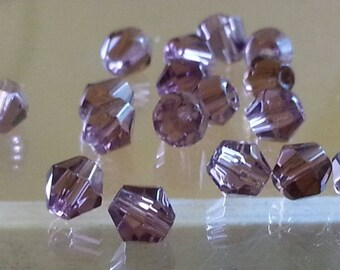 10 glass beads, faceted, Bicone, purple, 4 mm, hole: 1