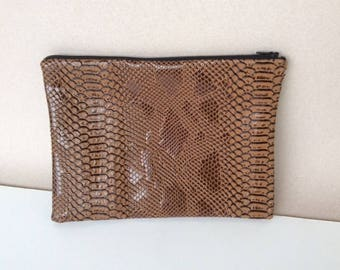 Brown faux leather clutch bag