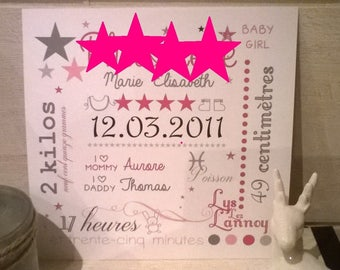 Baby girl or boy personalized name illustration star 20 x 20