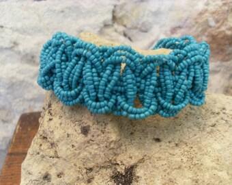 Turquoise boho style braided bracelet