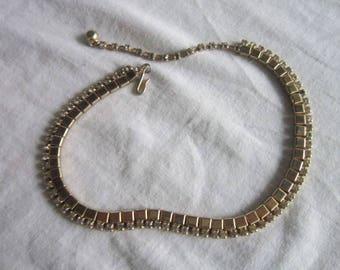 Vintage High Fashion Costume Gold Tone Rhinestone Choker Necklace