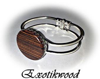 Bracelet adjustable purple wood cabochon