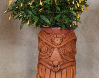 Ceramic flower pot style tiki - original creation