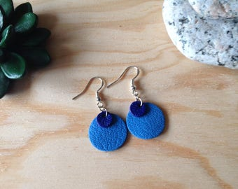 Leather earring - round earring blue leather