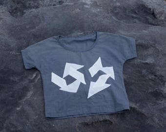 Blue shirt, women's top, women's tee, t-shirt, cotton, handmade, modern, graphic