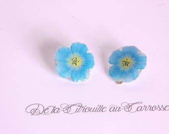 Clip on earrings blue flower