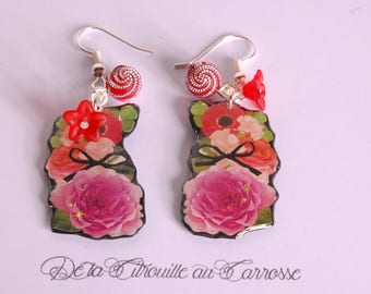 Romantic, red and purple floral earrings