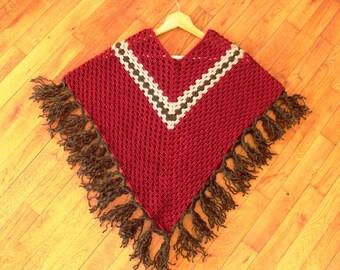Poncho woman or girl handmade crochet