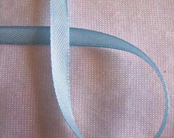 Satin ribbon, single side, blue pale, width 6 mm (S-065)