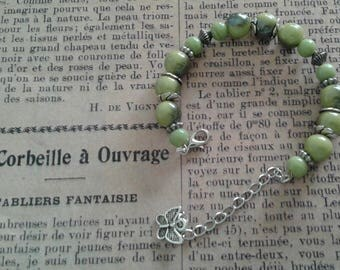 Lime green and silver memory bracelet