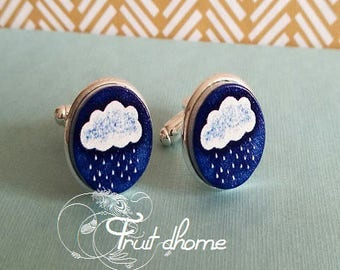 """Nice pair of cufflinks """"Alphonse"""" silver metal and wood cabochons hand painted"""