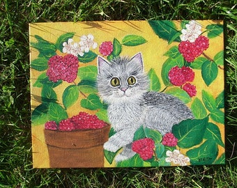 Completely hand-painted Web representing a kitten under cover in raspberries