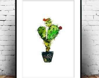 Cactus Art, Cactus Print, Green Art, Green Print, Modern Art, Watercolor Art, Green Home Decor, Wall Art, Green Watercolour, Nature Art