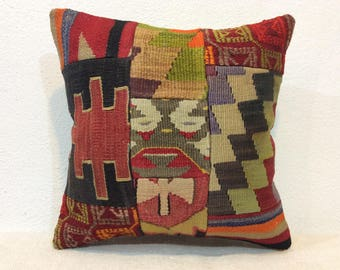 Patchwork kilim pillow cover 16x16 pillow cover handmade kilim pillow case decorative pillows cover